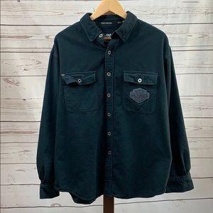 Harley Davidson Black Long Sleeve Collared Shirt